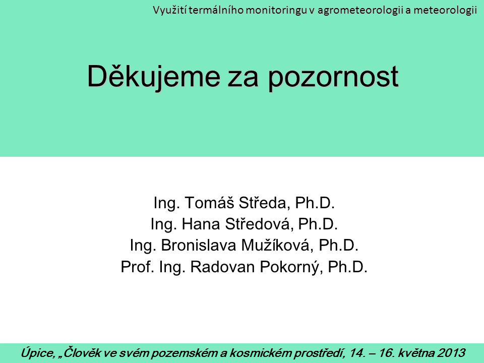 Děkujeme za pozornost Ing. Tomáš Středa, Ph.D.
