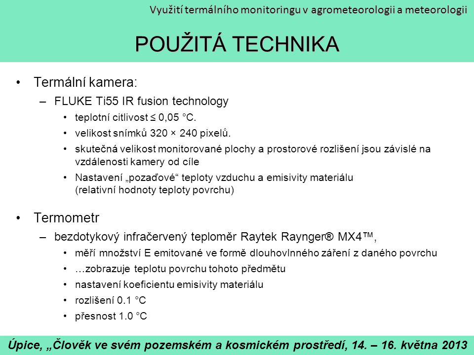 POUŽITÁ TECHNIKA Termální kamera: Termometr