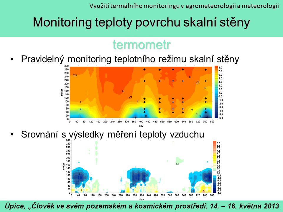 Monitoring teploty povrchu skalní stěny termometr