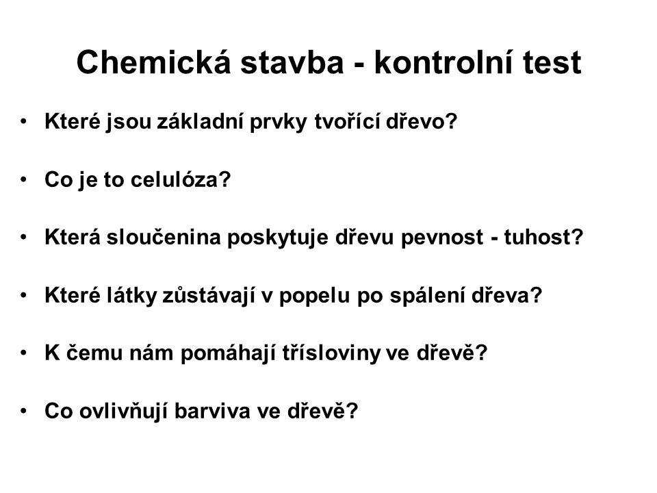 Chemická stavba - kontrolní test