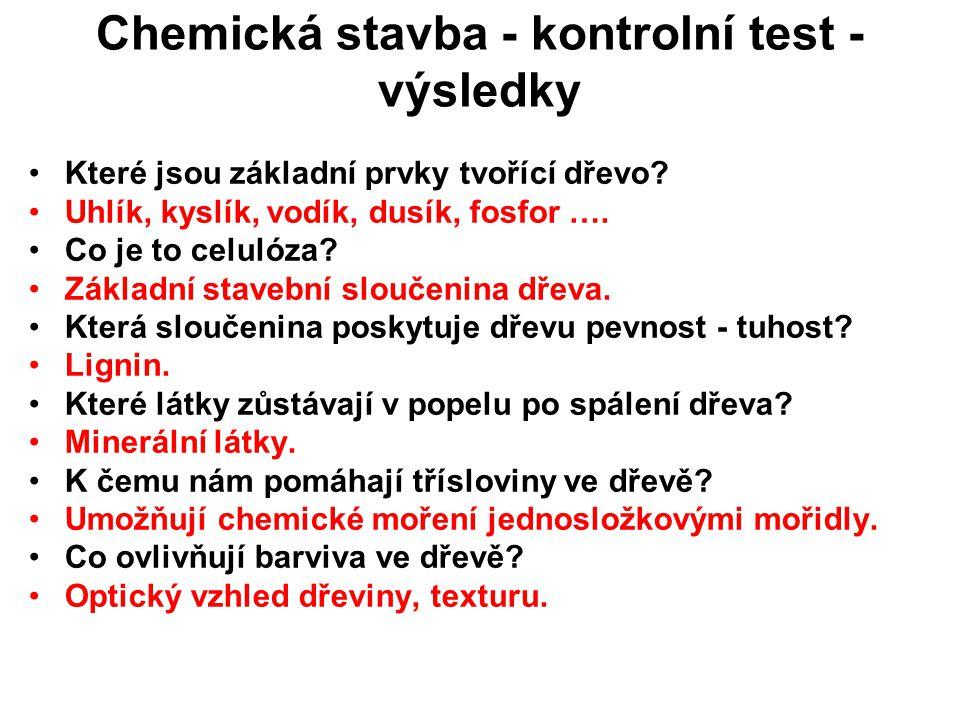 Chemická stavba - kontrolní test - výsledky