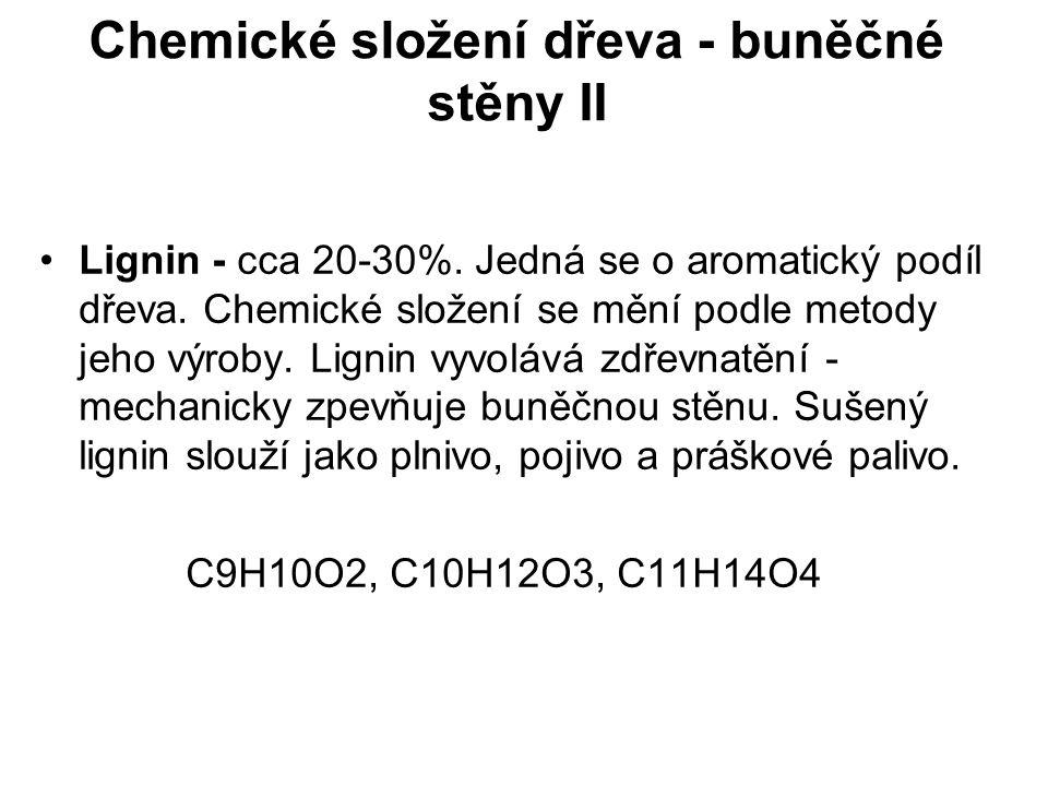 Chemické složení dřeva - buněčné stěny II