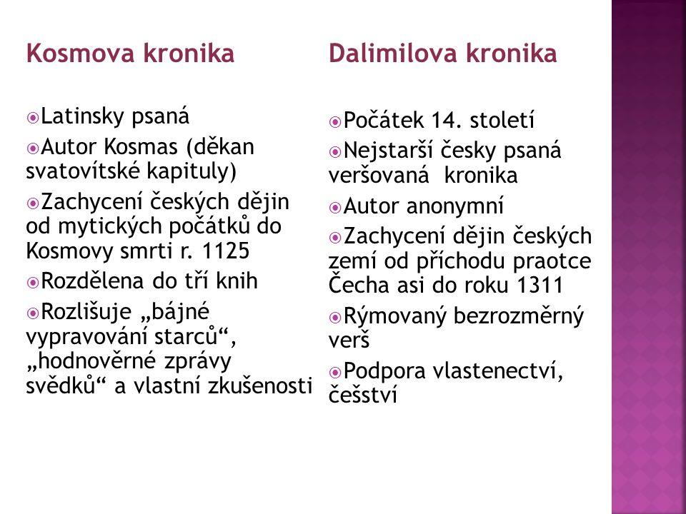 Kosmova kronika Dalimilova kronika Latinsky psaná Počátek 14. století