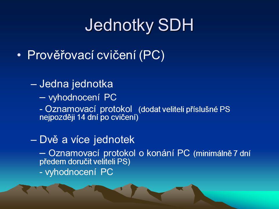 Jednotky SDH Prověřovací cvičení (PC) Jedna jednotka – vyhodnocení PC