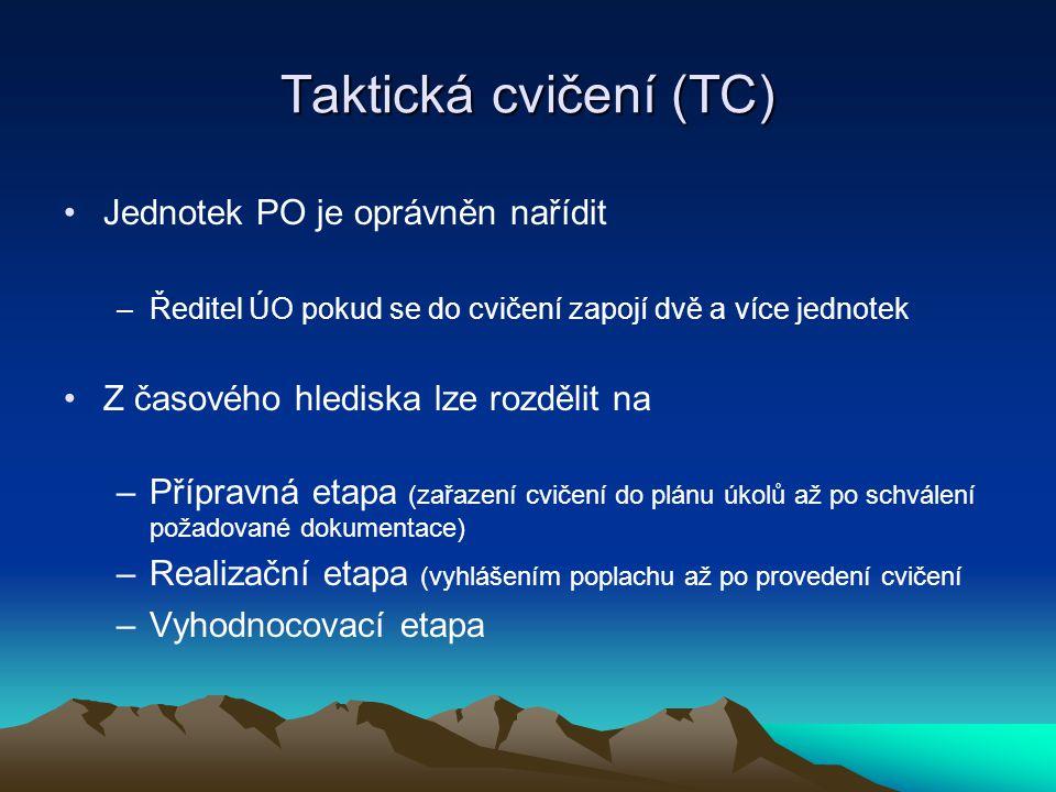 Taktická cvičení (TC) Jednotek PO je oprávněn nařídit