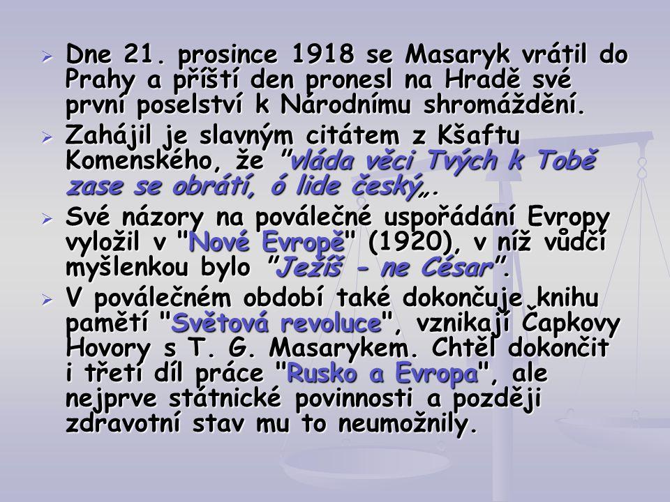 Dne 21. prosince 1918 se Masaryk vrátil do Prahy a příští den pronesl na Hradě své první poselství k Národnímu shromáždění.