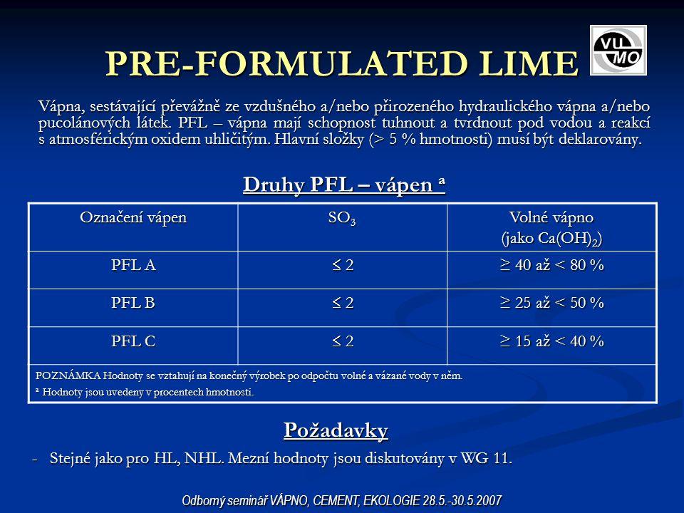 PRE-FORMULATED LIME Druhy PFL – vápen a Požadavky