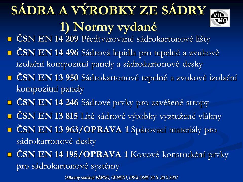 SÁDRA A VÝROBKY ZE SÁDRY 1) Normy vydané