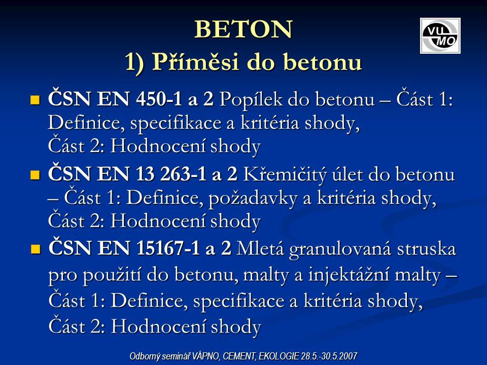 BETON 1) Příměsi do betonu