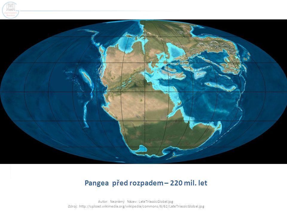 Pangea před rozpadem – 220 mil. let