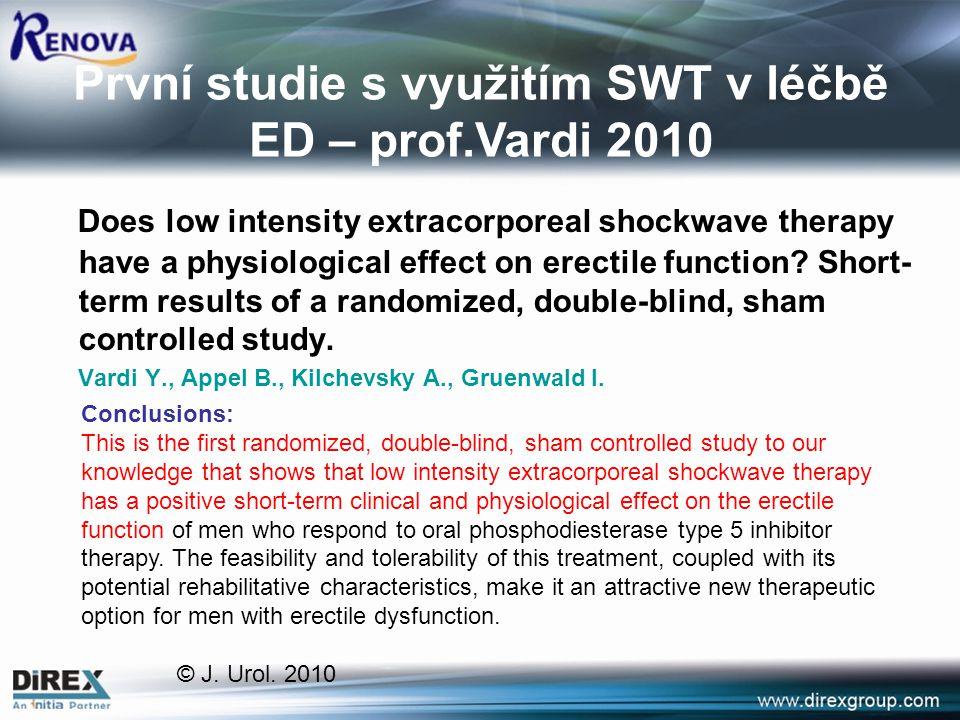 První studie s využitím SWT v léčbě ED – prof.Vardi 2010