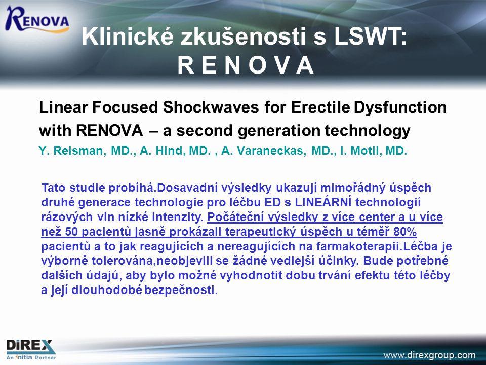 Klinické zkušenosti s LSWT: R E N O V A