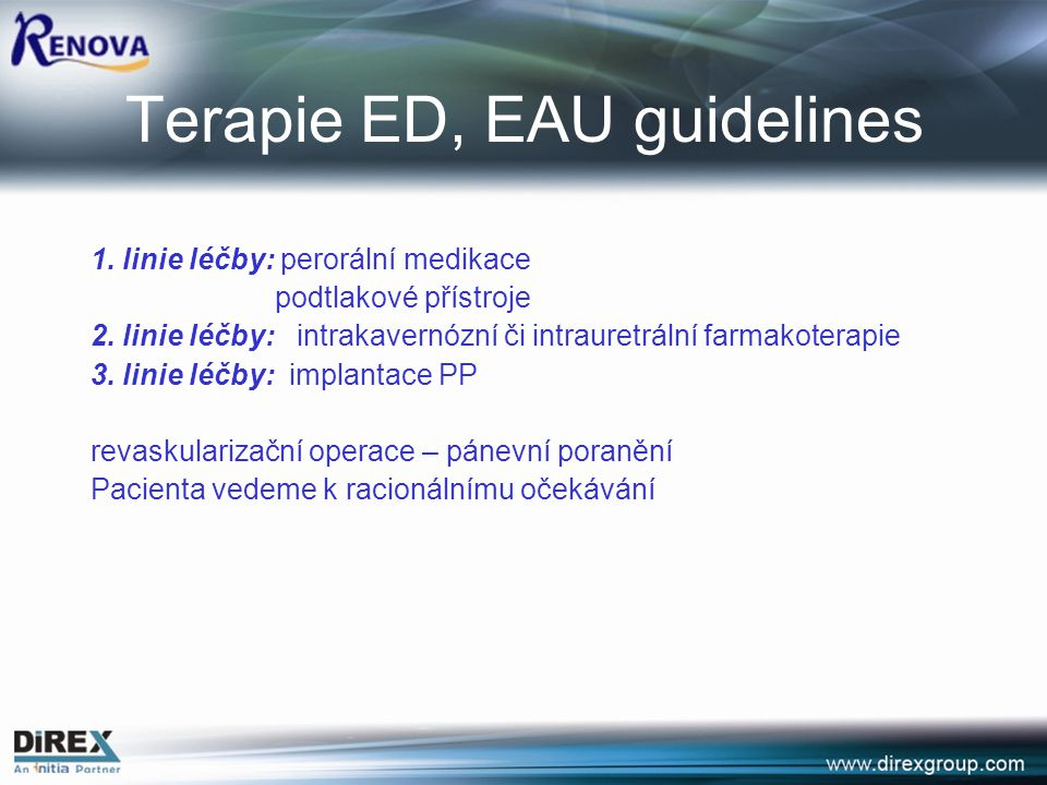 Terapie ED, EAU guidelines