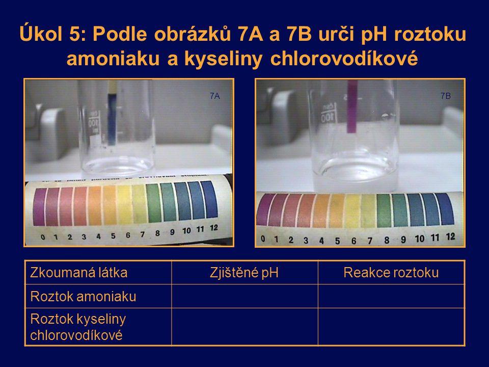 Úkol 5: Podle obrázků 7A a 7B urči pH roztoku amoniaku a kyseliny chlorovodíkové