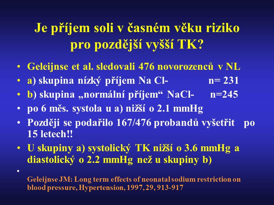 Je příjem soli v časném věku riziko pro pozdější vyšší TK
