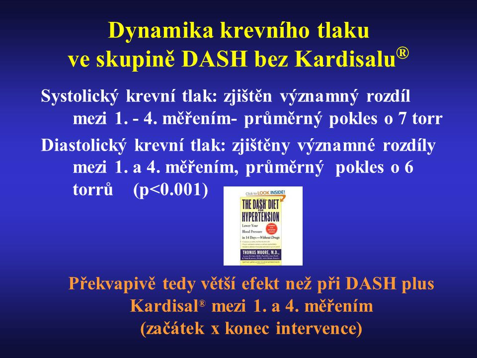 Dynamika krevního tlaku ve skupině DASH bez Kardisalu®