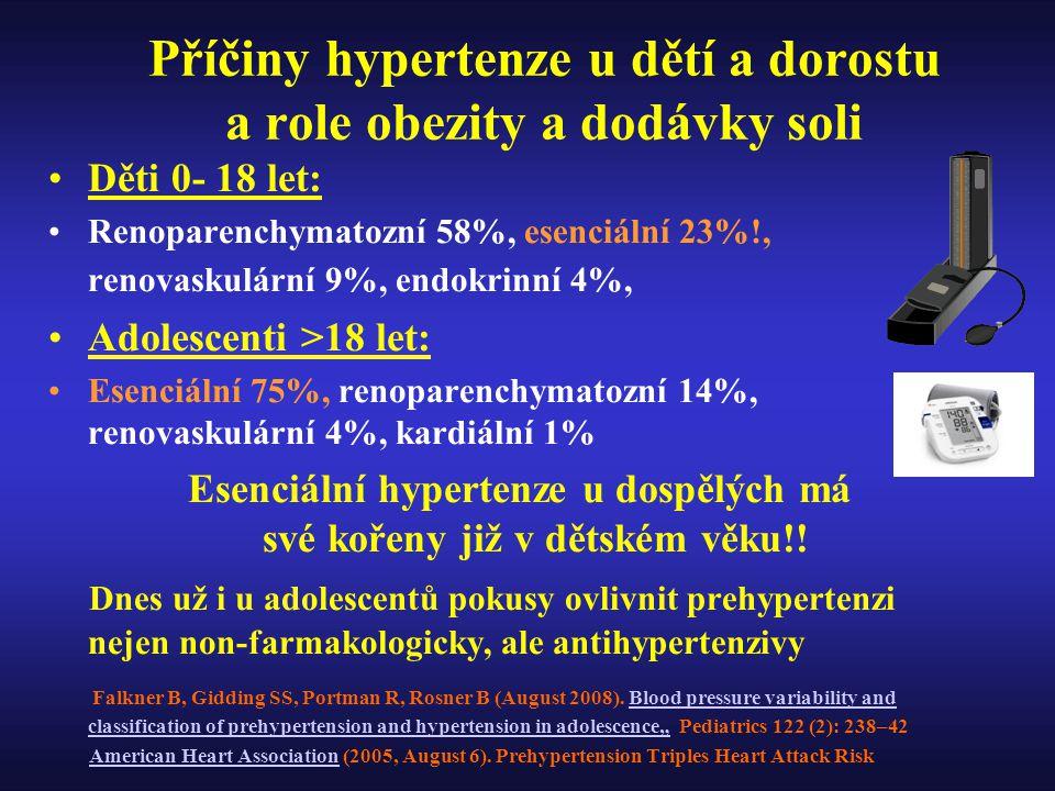 Příčiny hypertenze u dětí a dorostu a role obezity a dodávky soli