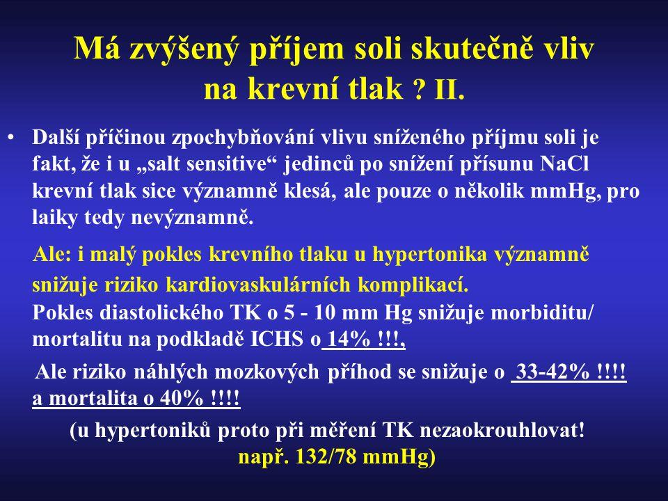 Má zvýšený příjem soli skutečně vliv na krevní tlak II.