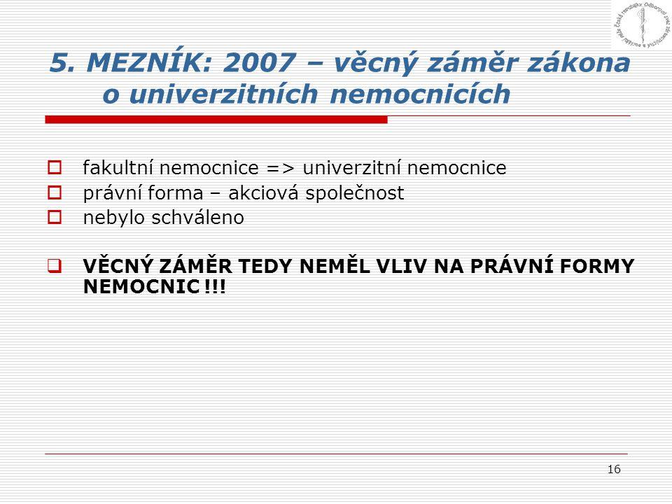 5. MEZNÍK: 2007 – věcný záměr zákona o univerzitních nemocnicích