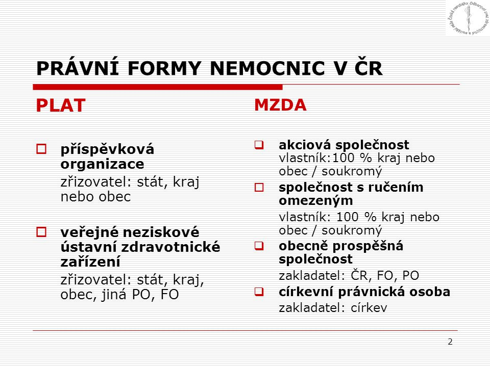 PRÁVNÍ FORMY NEMOCNIC V ČR