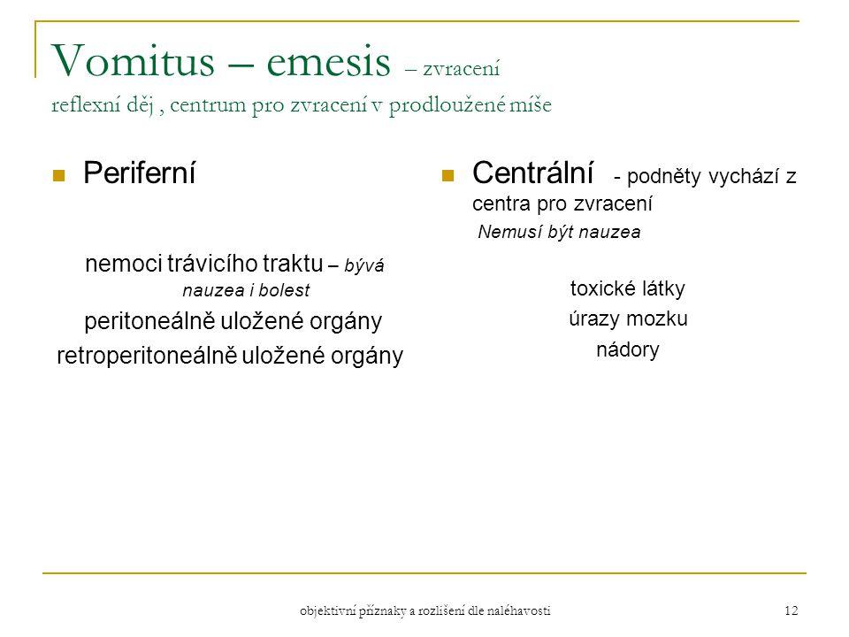 Vomitus – emesis – zvracení reflexní děj , centrum pro zvracení v prodloužené míše