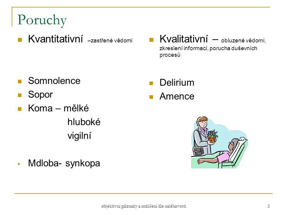 objektivní příznaky a rozlišení dle naléhavosti