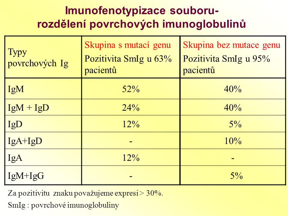 Imunofenotypizace souboru- rozdělení povrchových imunoglobulinů