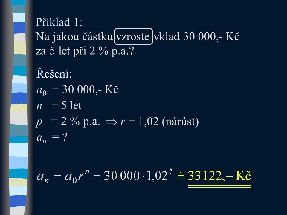Příklad 1: Na jakou částku vzroste vklad 30 000,- Kč za 5 let při 2 % p.a.