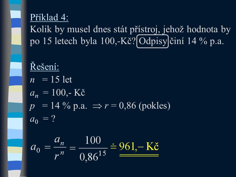 Příklad 4: Kolik by musel dnes stát přístroj, jehož hodnota by po 15 letech byla 100,-Kč Odpisy činí 14 % p.a.