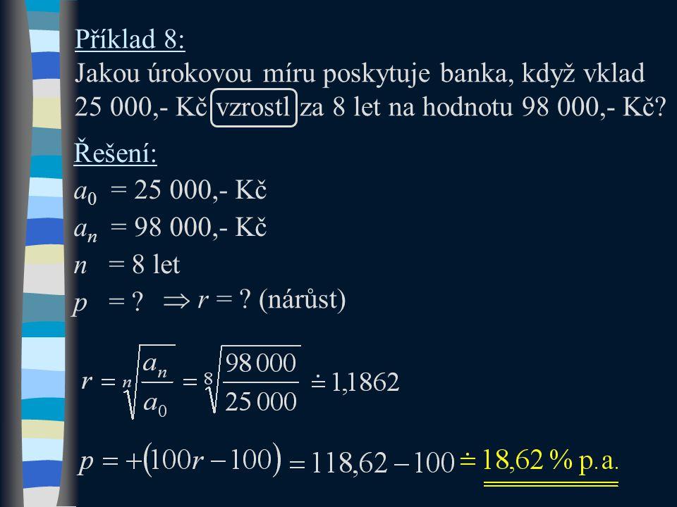 Příklad 8: Jakou úrokovou míru poskytuje banka, když vklad 25 000,- Kč vzrostl za 8 let na hodnotu 98 000,- Kč