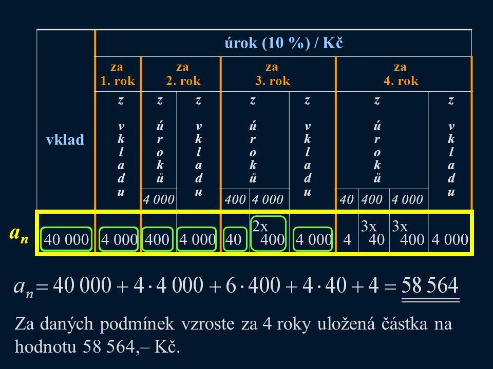 úrok (10 %) / Kč za. 1. rok. za. 2. rok. za. 3. rok. za. 4. rok. z. v. k. l. a. d. u.