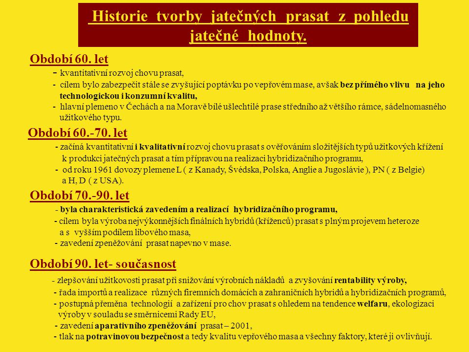 Historie tvorby jatečných prasat z pohledu jatečné hodnoty.