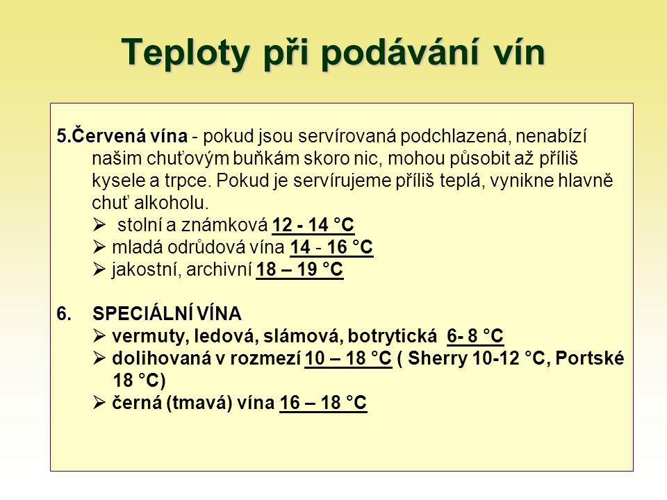 Teploty při podávání vín