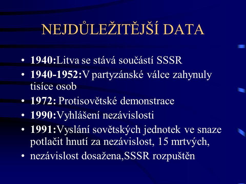 NEJDŮLEŽITĚJŠÍ DATA 1940:Litva se stává součástí SSSR