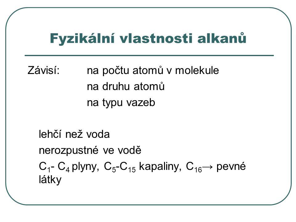 Fyzikální vlastnosti alkanů