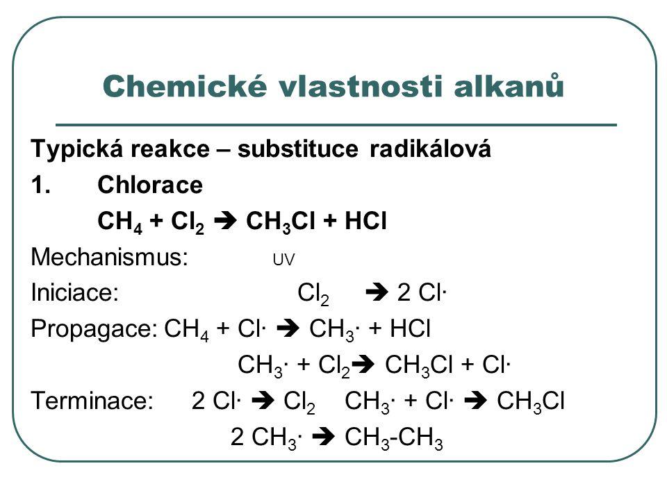 Chemické vlastnosti alkanů