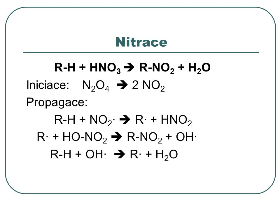Nitrace R-H + HNO3  R-NO2 + H2O Iniciace: N2O4  2 NO2· Propagace: