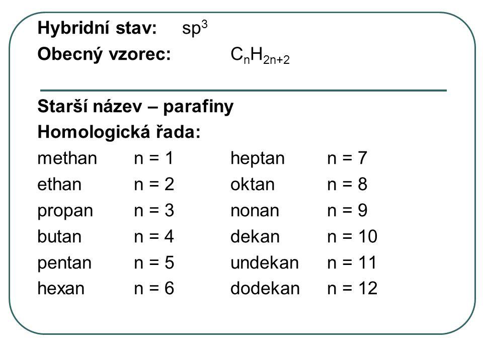 Hybridní stav: sp3 Obecný vzorec: CnH2n+2. Starší název – parafiny. Homologická řada: methan n = 1 heptan n = 7.