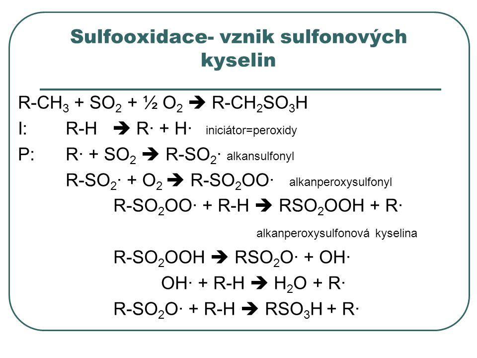 Sulfooxidace- vznik sulfonových kyselin