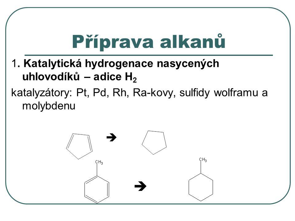 Příprava alkanů 1. Katalytická hydrogenace nasycených uhlovodíků – adice H2. katalyzátory: Pt, Pd, Rh, Ra-kovy, sulfidy wolframu a molybdenu.