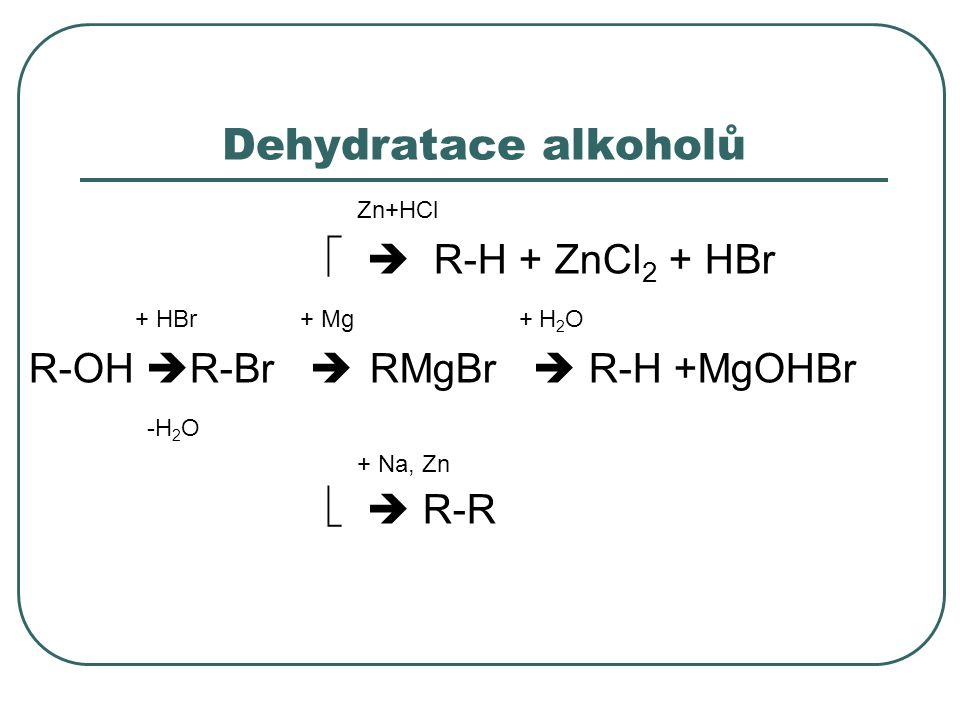 Dehydratace alkoholů Zn+HCl   R-H + ZnCl2 + HBr + HBr + Mg + H2O