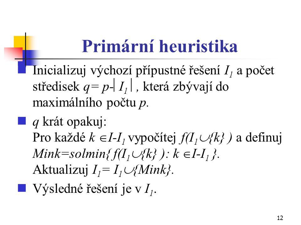 Primární heuristika Inicializuj výchozí přípustné řešení I1 a počet středisek q= p-I1 , která zbývají do maximálního počtu p.