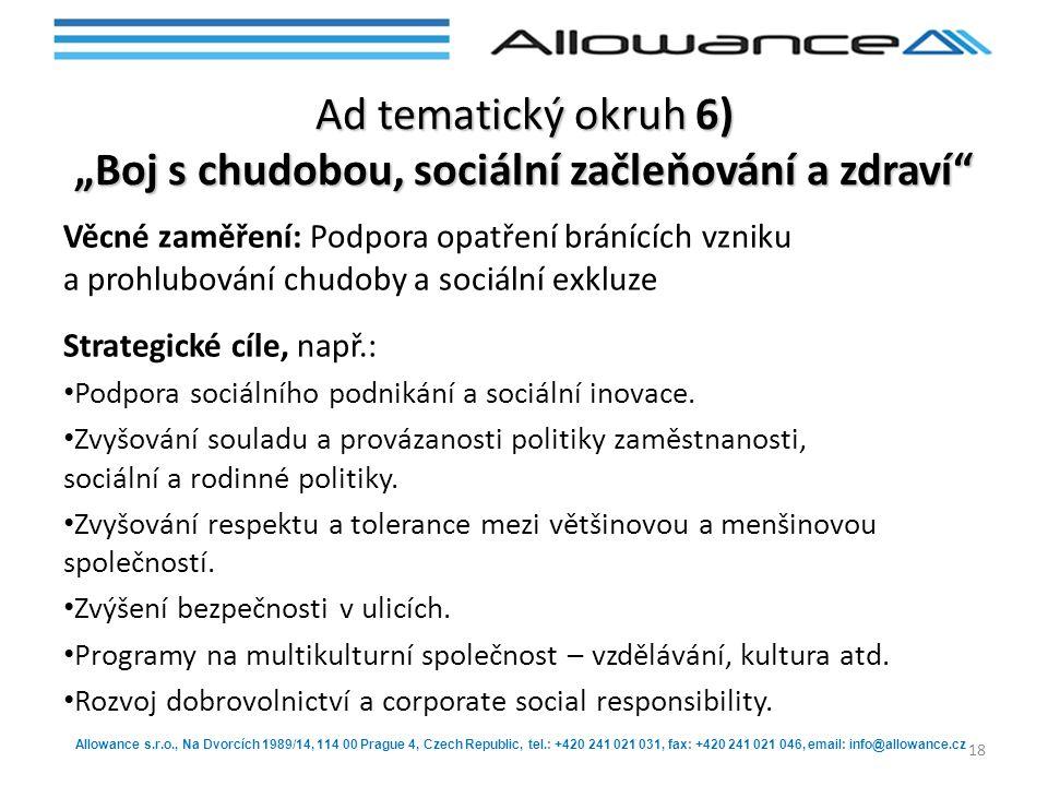 """Ad tematický okruh 6) """"Boj s chudobou, sociální začleňování a zdraví"""