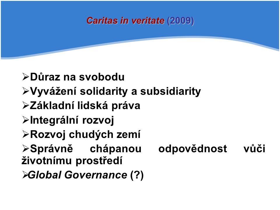 Vyvážení solidarity a subsidiarity Základní lidská práva