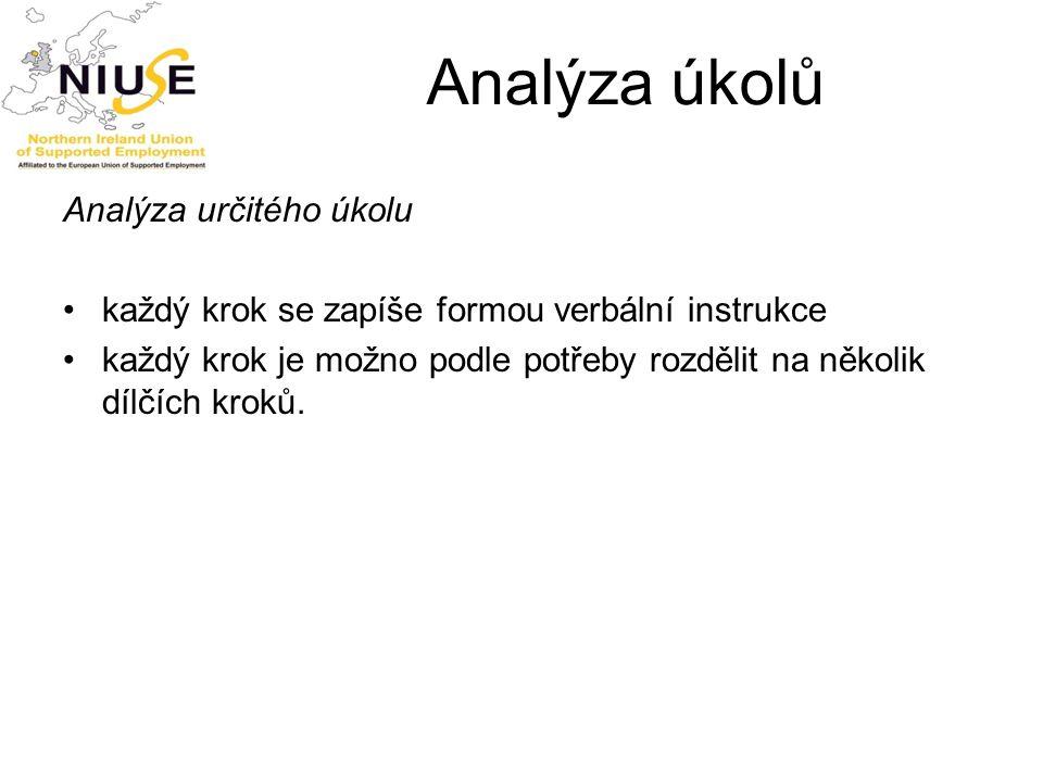 Analýza úkolů Analýza určitého úkolu
