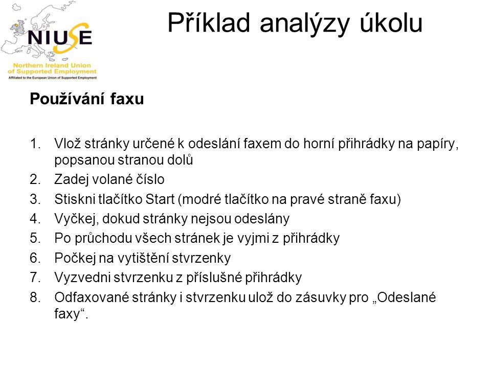 Příklad analýzy úkolu Používání faxu