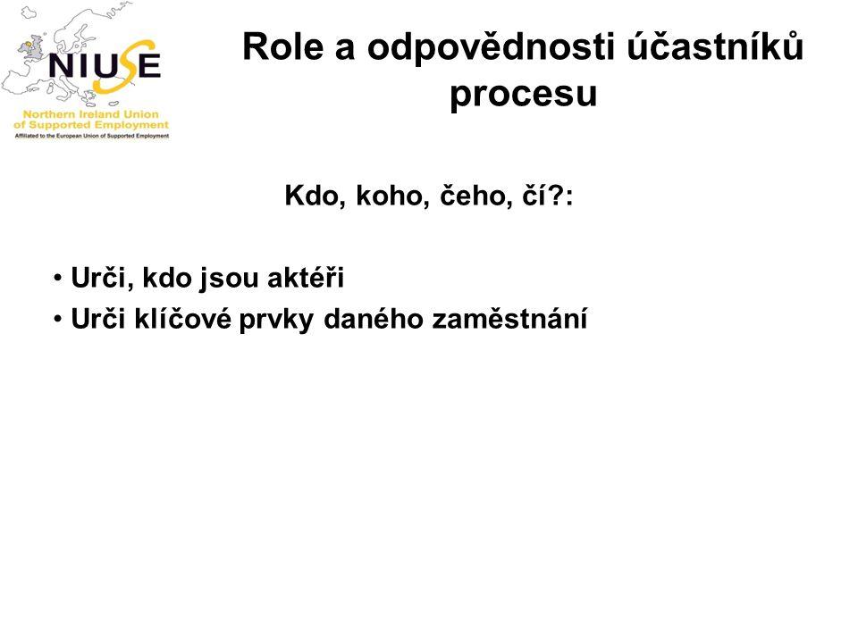 Role a odpovědnosti účastníků procesu