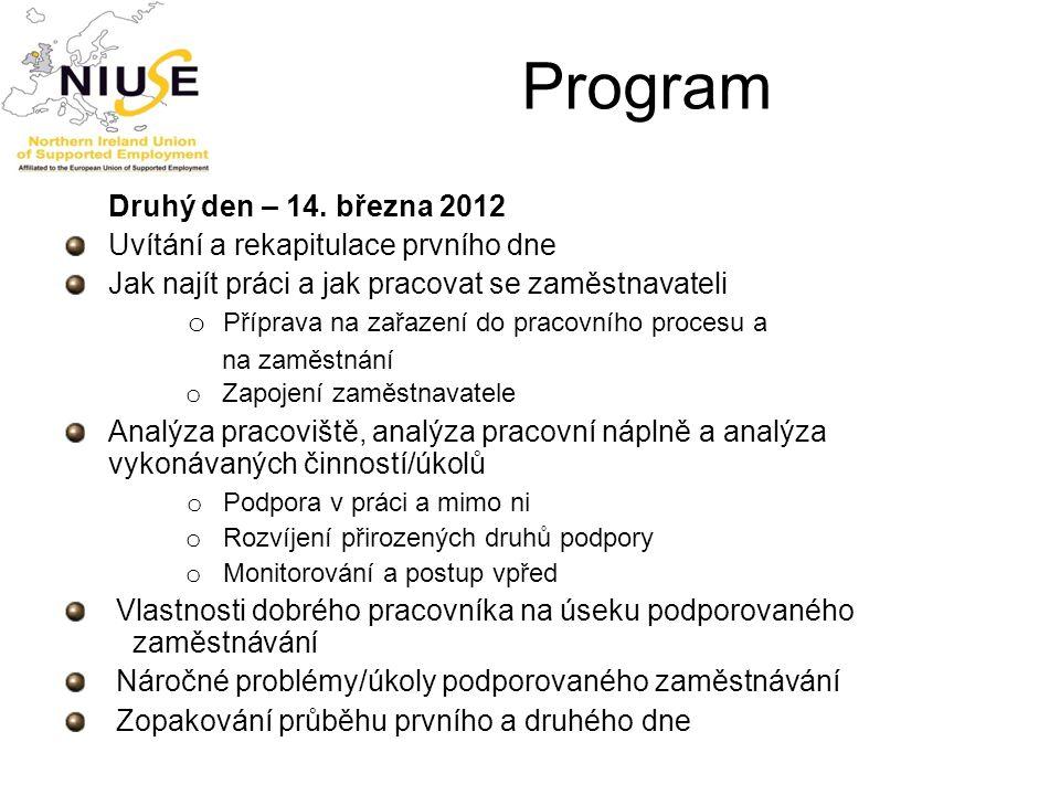 Program Druhý den – 14. března 2012 Uvítání a rekapitulace prvního dne