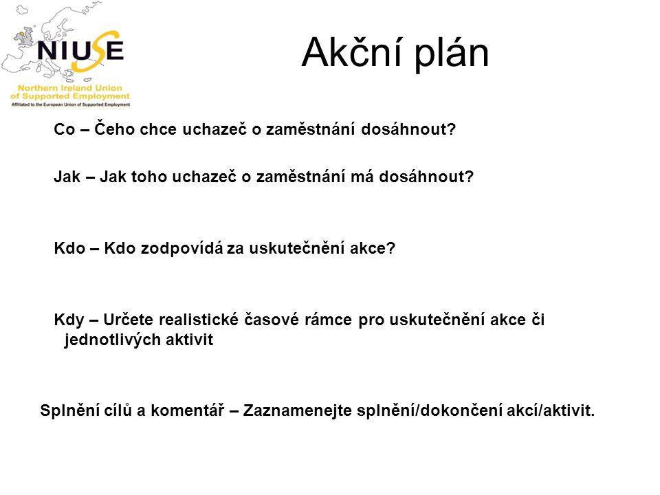 Akční plán Co – Čeho chce uchazeč o zaměstnání dosáhnout