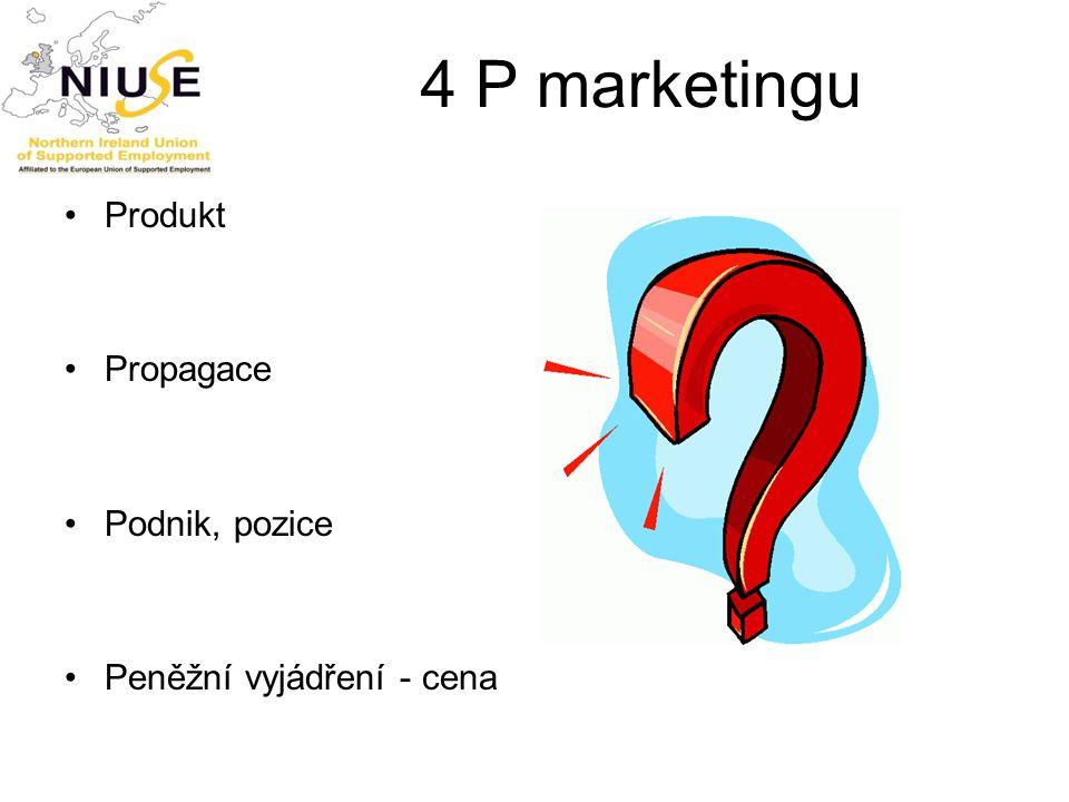 4 P marketingu Produkt Propagace Podnik, pozice